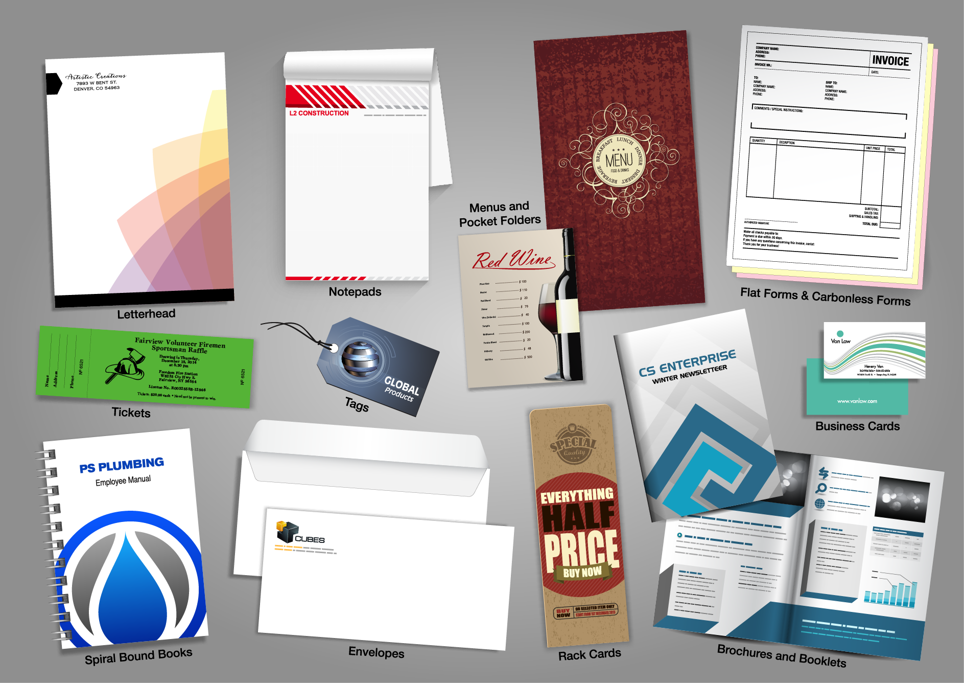 printing, wedding, menus, pocket folders, letterheads,  Envelopes, RackCards, Brochures and Booklets, Spiral bound Books, forms, calling cards, letter heads