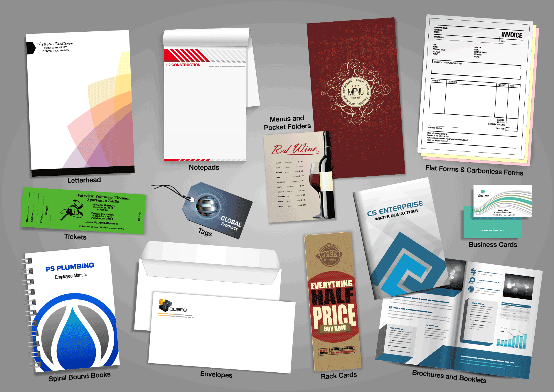 print, printing, wedding, menus, pocket folders, letterheads,  Envelopes, RackCards, Brochures and Booklets, Spiral bound Books, forms, calling cards, letter heads